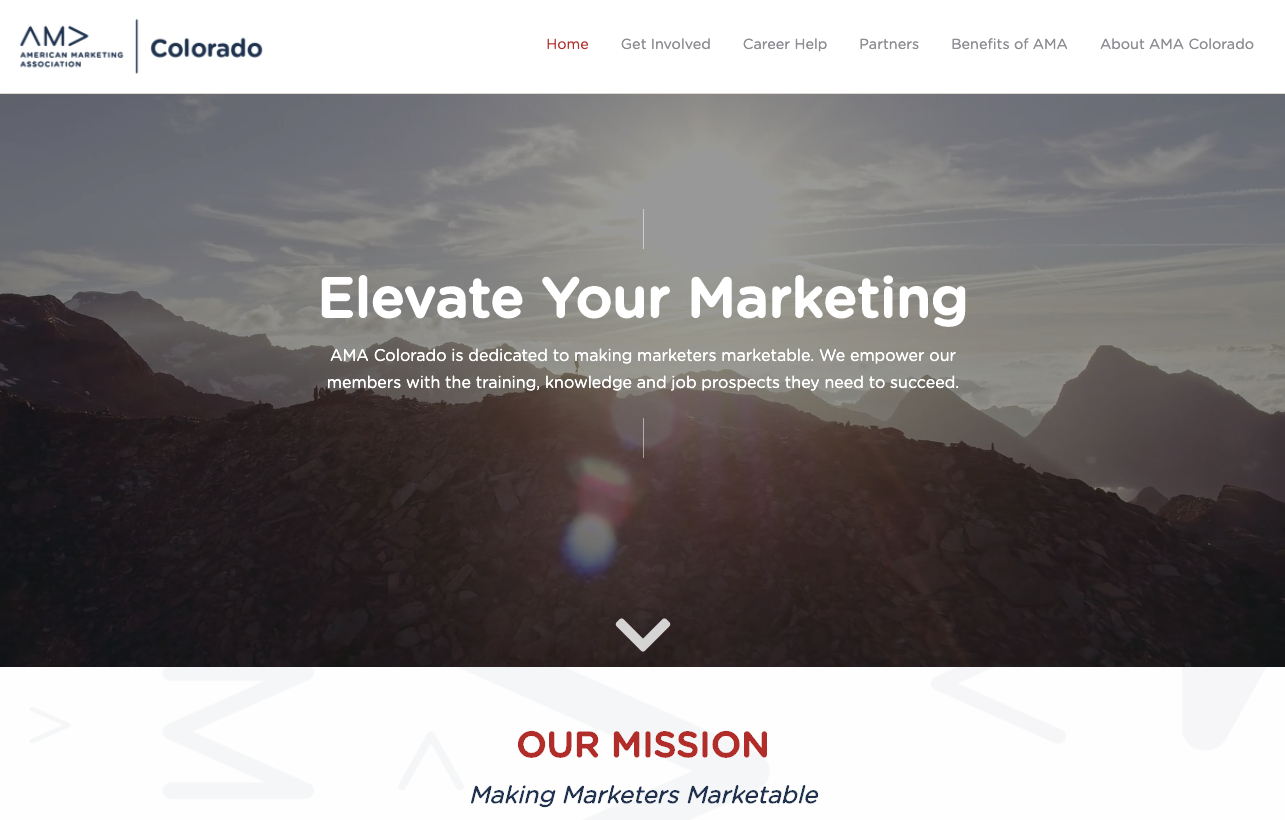 American Marketing Association Colorado Chapter Homepage Screenshot